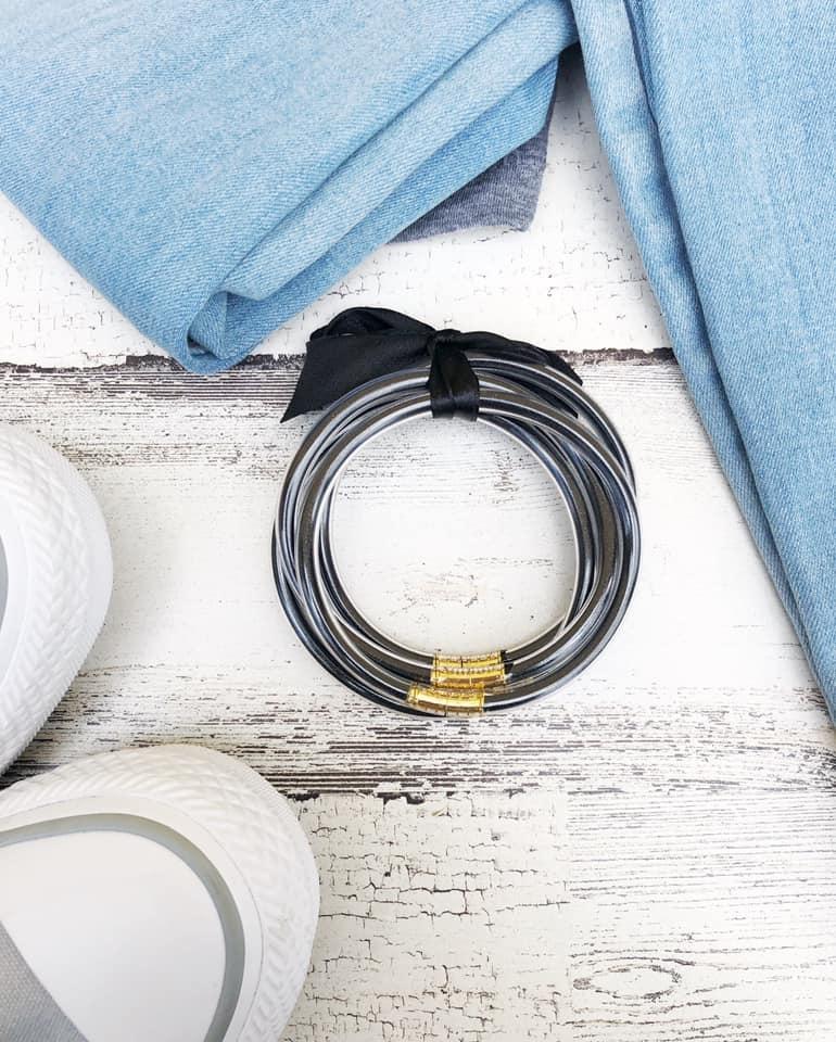 Black & Gold Jelly Glitter Bracelet Set