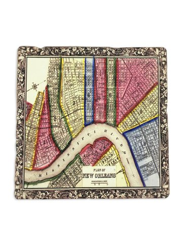 New Orleans Map Colorful Coaster, 6x6