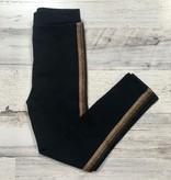 Black & Gold Ribbon Stripe Leggings, Kids
