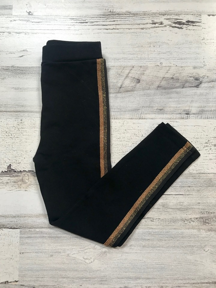 Black & Gold Ribbon Stripe Leggings, Kids