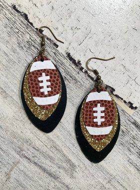 Black & Gold Football Triple Layer Earrings