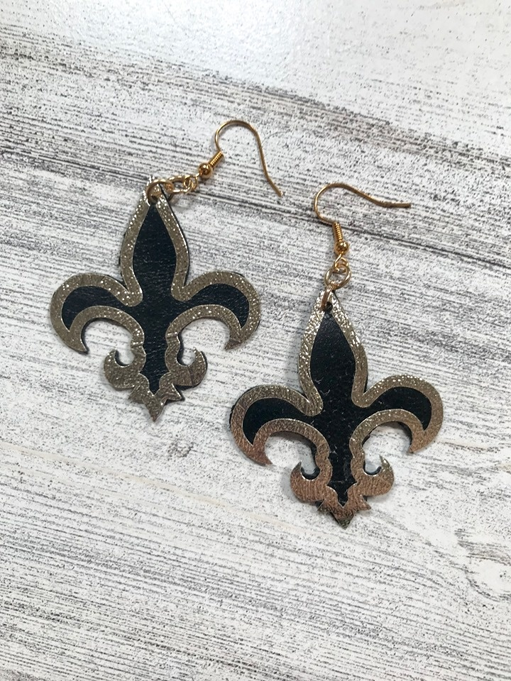 Black & Gold Leather Fleur de Lis Earrings