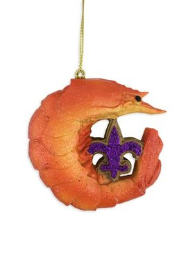 Fleur de Lis Shrimp Christmas Ornament