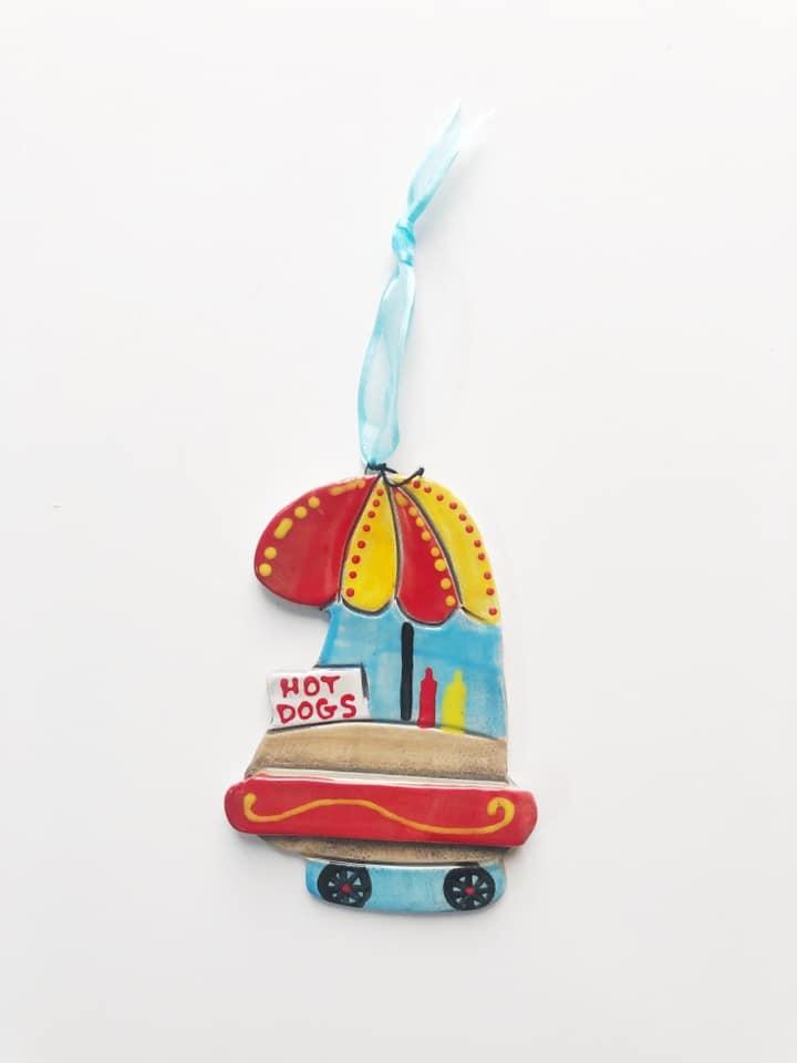 Hot Dog Cart Ceramic Ornament