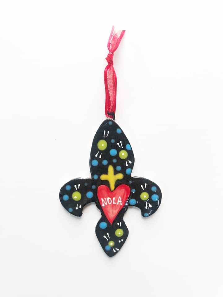 NOLA Fleur de Lis Ceramic Ornament