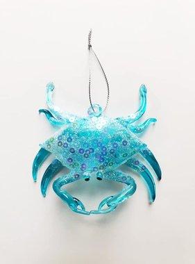 Blue Crab Glass Ornament