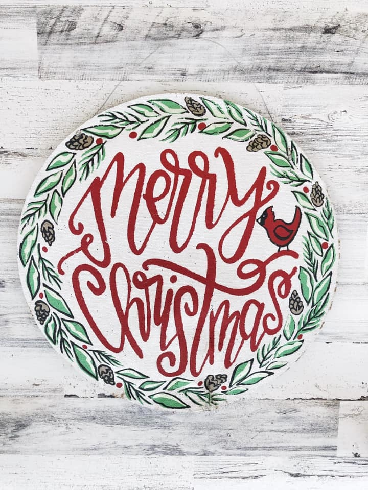 Gather & Merry Christmas Door Hanger