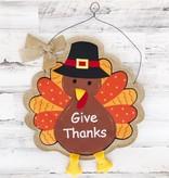 Give Thanks Pilgrim Turkey Door Hanger
