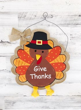 Give Thanks Pilgrim Turkey Door Hanger