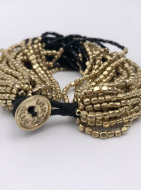 Chunky Black and Gold Beaded Bracelet