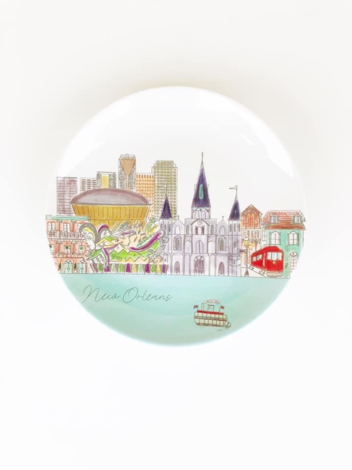 New Orleans Skyline Plate Set