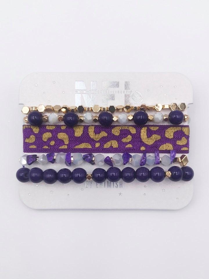 NFL Gameday Bracelet Set, Purple & Gold