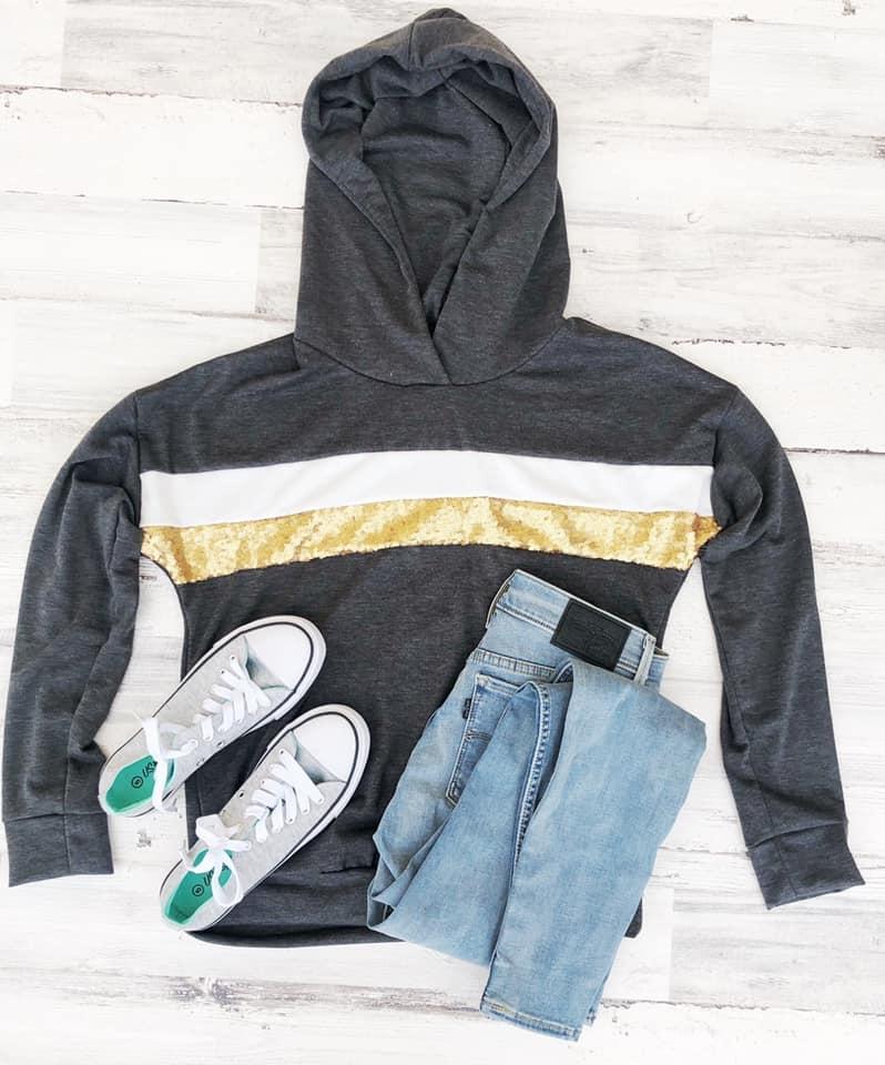 Sequin Hoodie, Charcoal