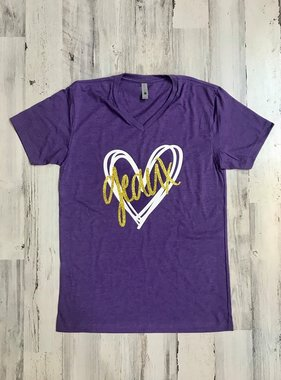 Purple & Gold Geaux Heart Tee