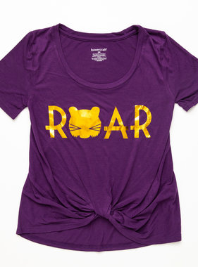 Purple & Gold Roar Knotted Tee