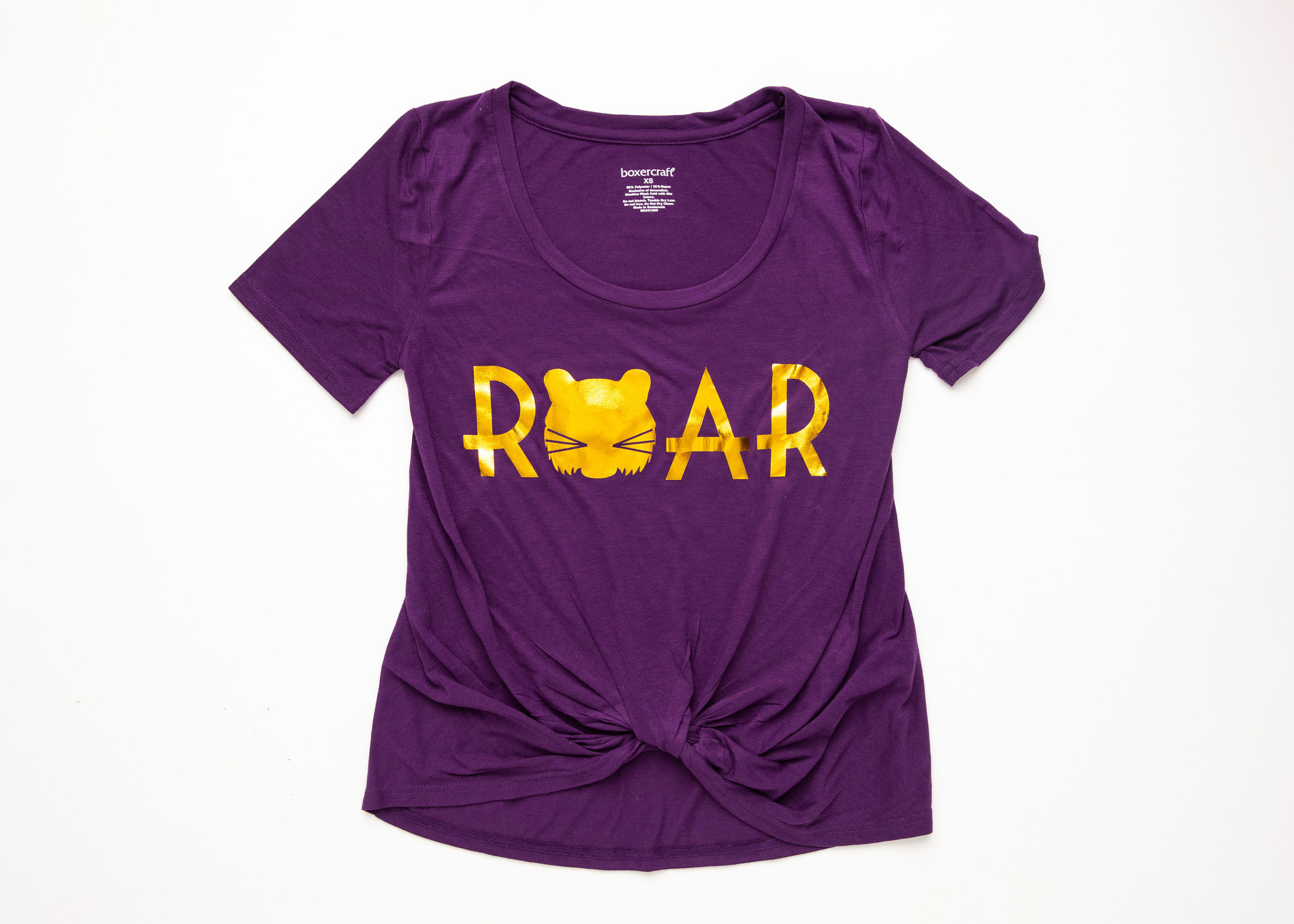 Purple & Gold Roar Knotted Tee