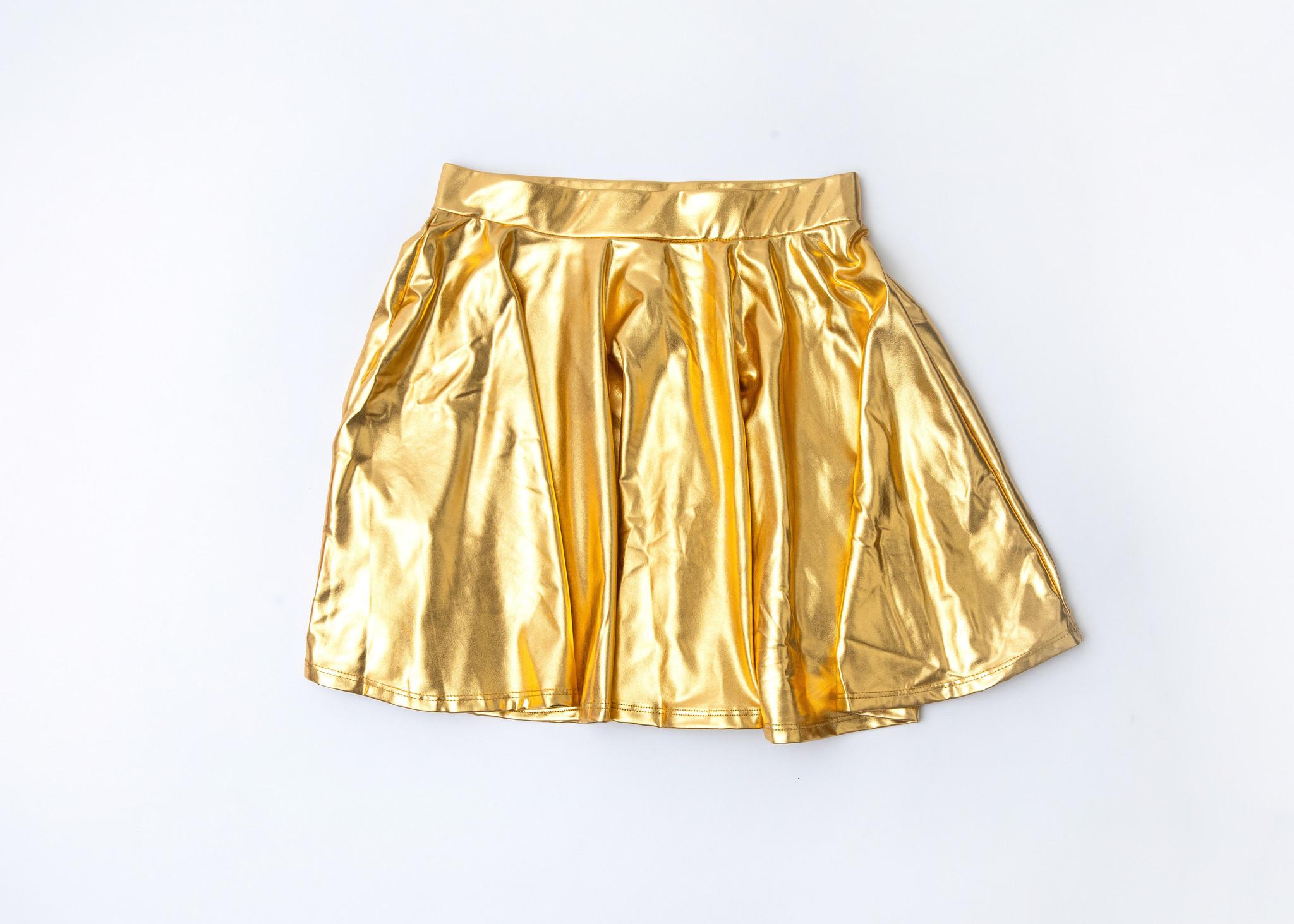 Gold Metallic Skater Skirt
