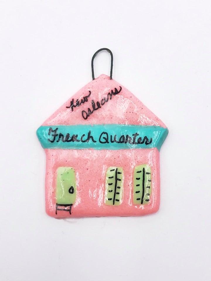French Quarter Shotgun Ornament, Pink