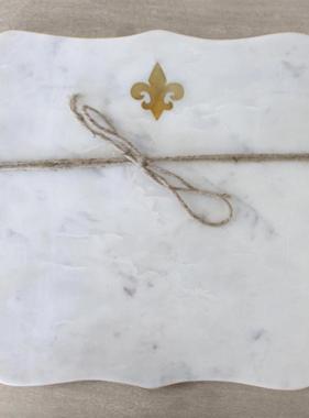 Fleur de Lis Marble Serving Board