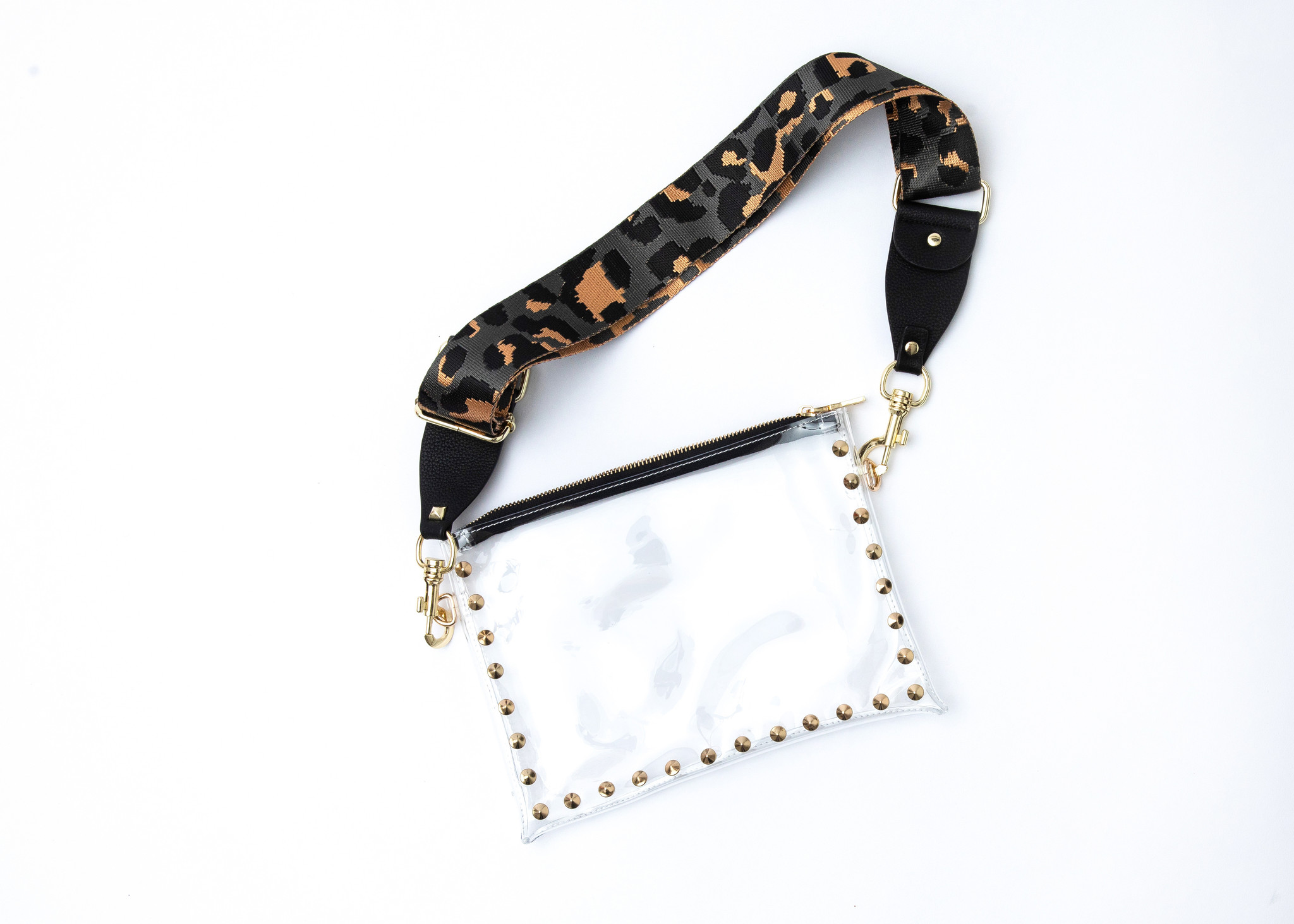 Clear Parker Bag with Black Cheetah Strap