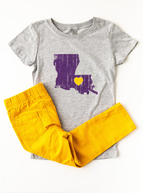 Louisiana Love Tween Tee, Purple & Gold