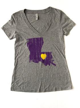 Louisiana Love Tee, Purple & Gold