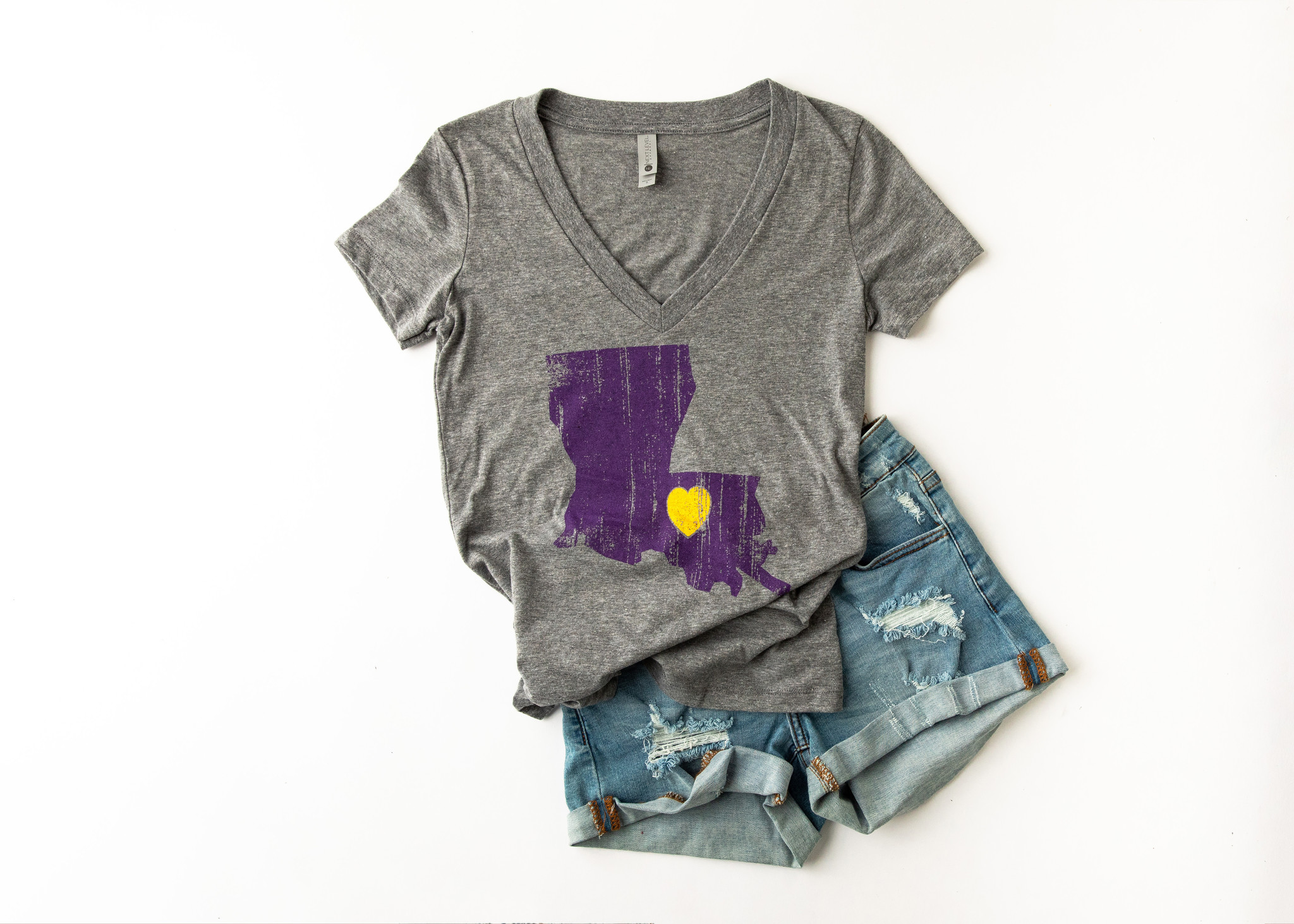 Louisiana Love Tee, Purple & Gold