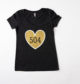 Black & Gold 504 Heart Tee