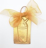 Gold Stamped Snoball Ornament