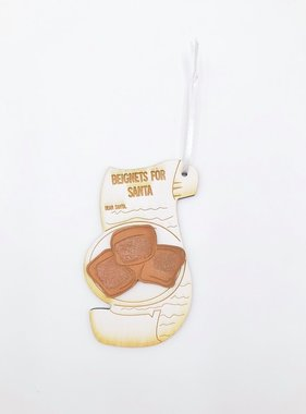 3D Wood Beignet Santa Ornament
