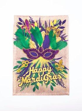 Burlap Mardi Gras Garden Flag