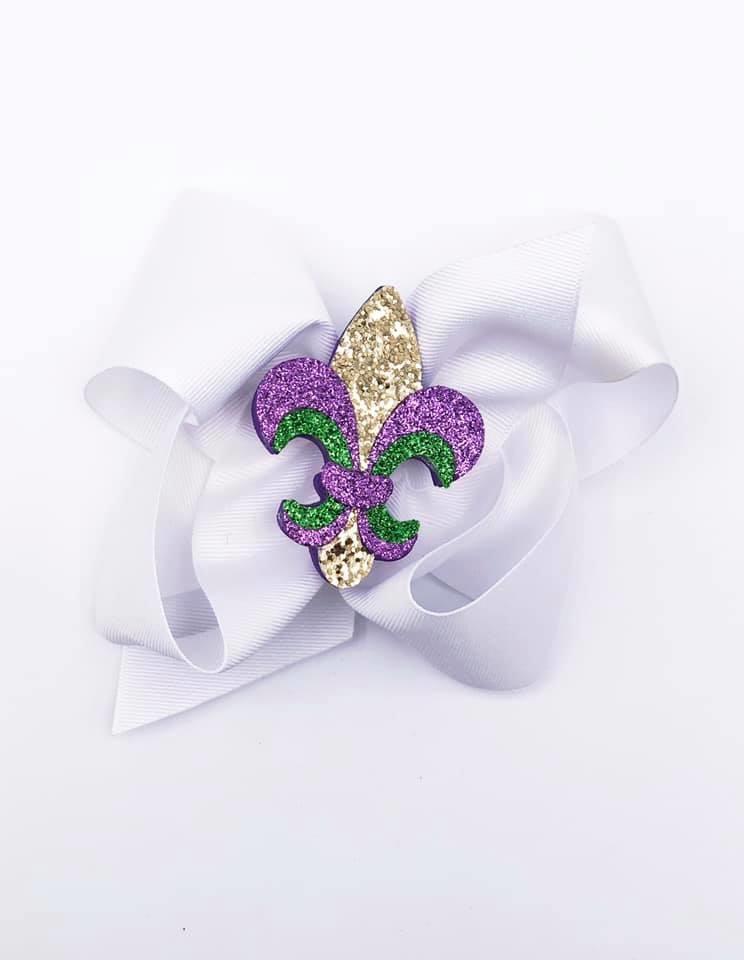 Mardi Gras Fleur de Lis Bow
