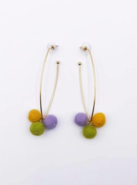 Mardi Gras Pom Pom Hook Earrings
