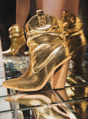 Metallic Gold Snake Booties