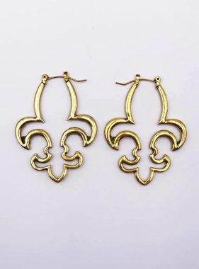 Fleur de Lis Hoop Earrings, Gold
