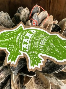 Christmas Alligator Ornament Card