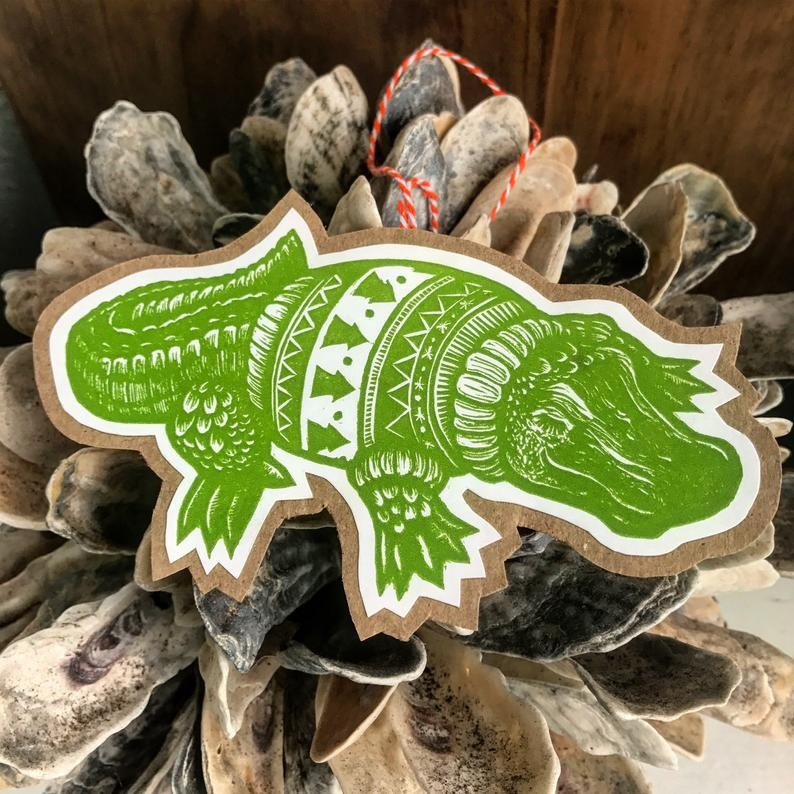 Christmas Alligator Ornament Card