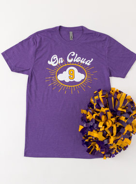 Cloud 9 Tee, Purple & Gold
