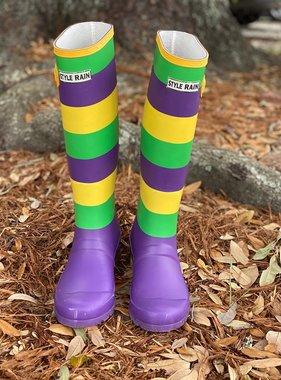 Mardi Gras Stripe Rainboots *Pre-Sale*