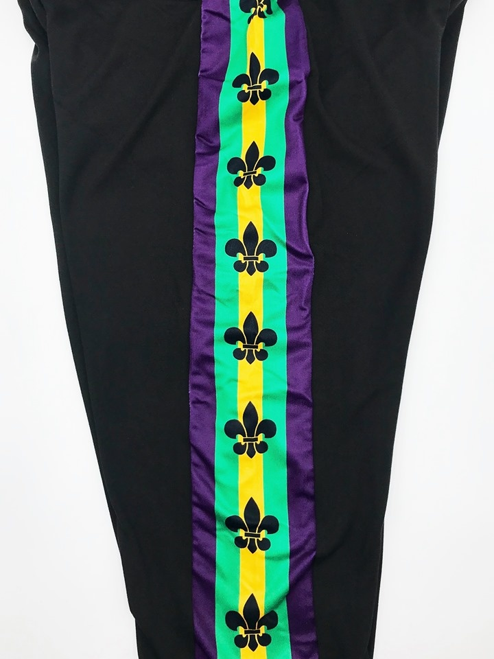 Mardi Gras Side Stripe Fleur de Lis Leggings