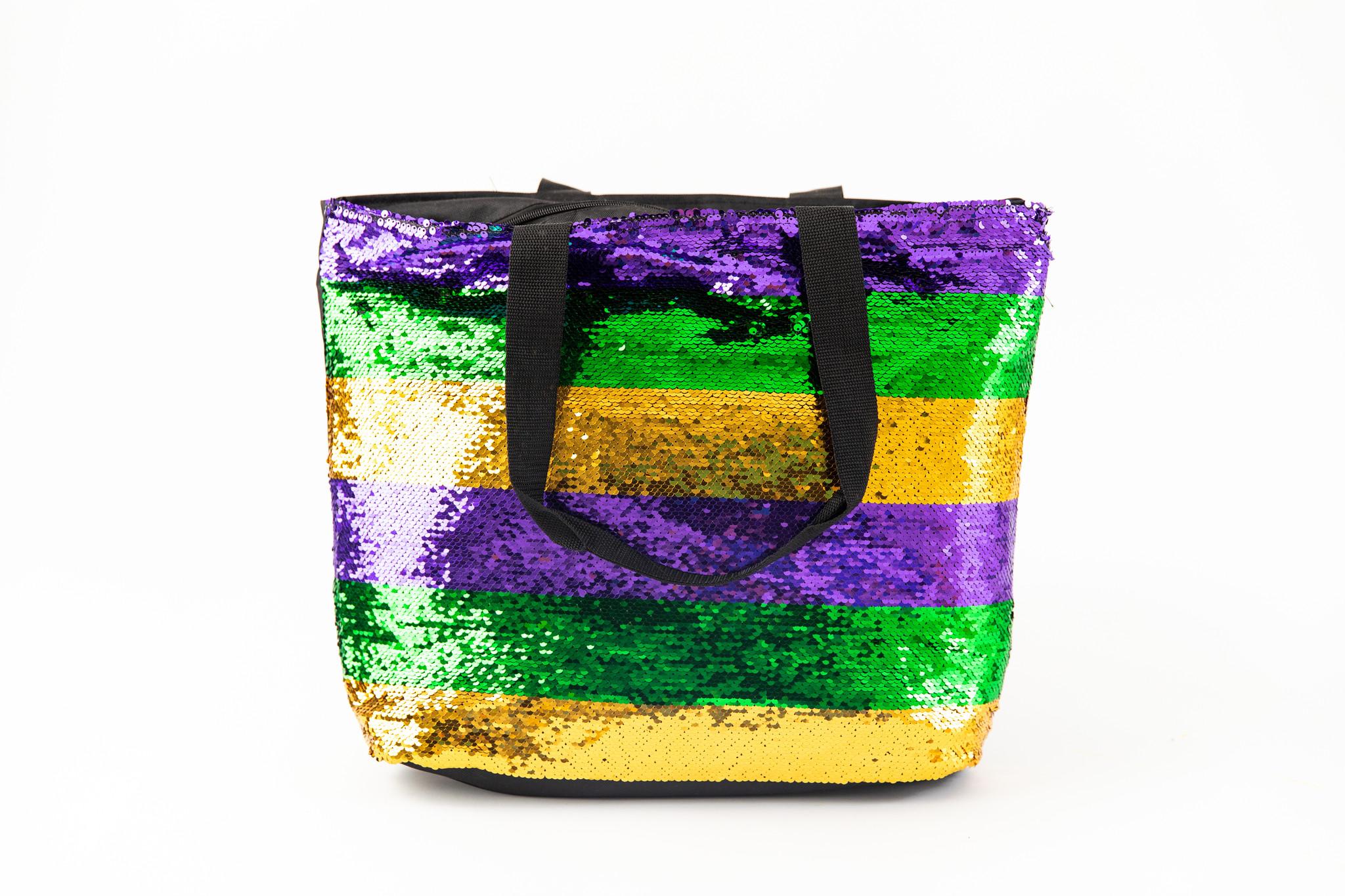 Mardi Gras Stripe Sequin Tote