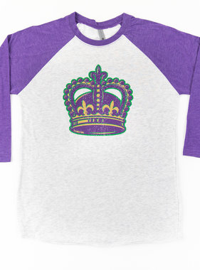 Mardi Gras Crown Baseball Tee, Purple