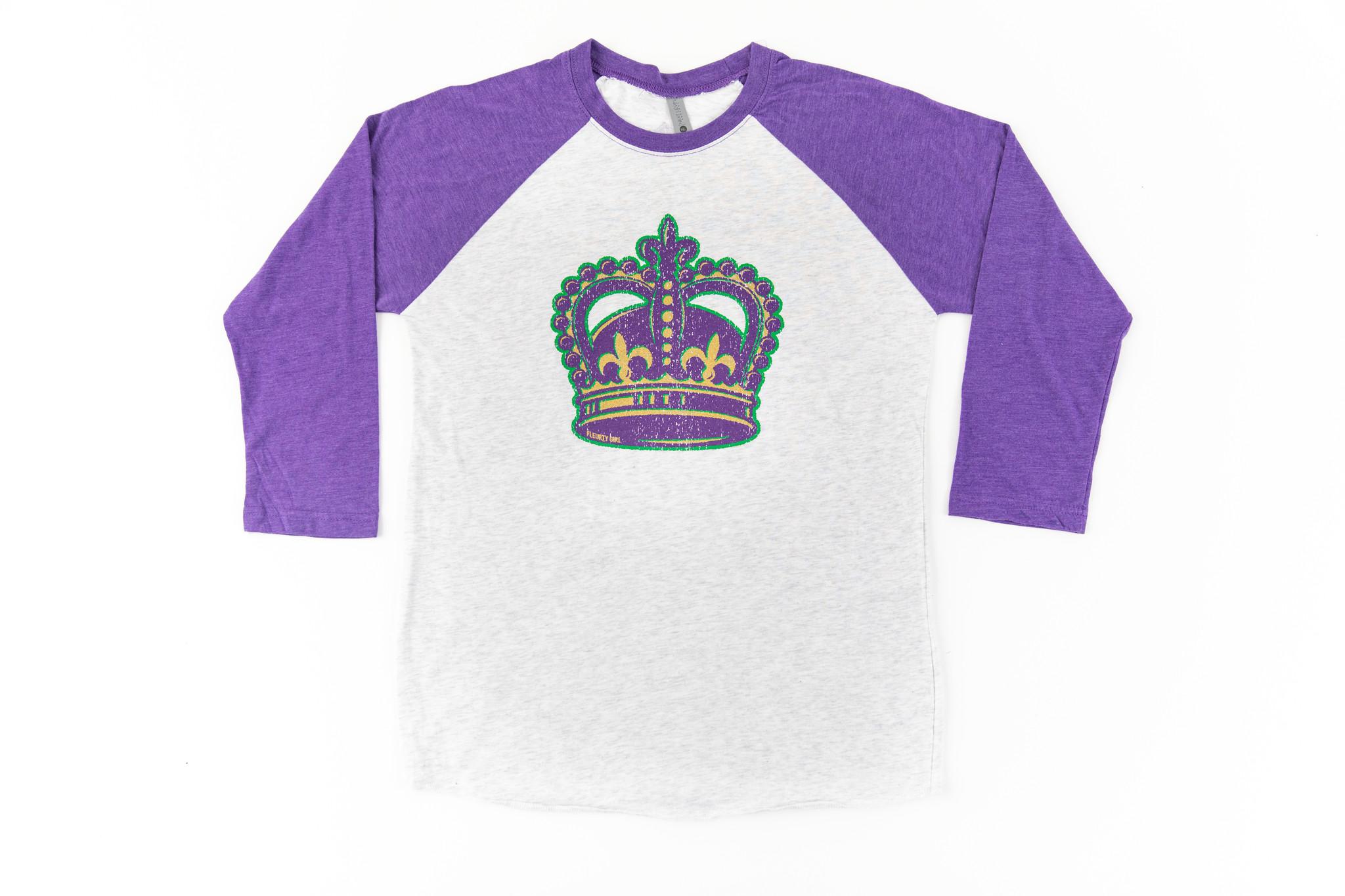 Mardi Gras Crown Baseball Tee, Purple