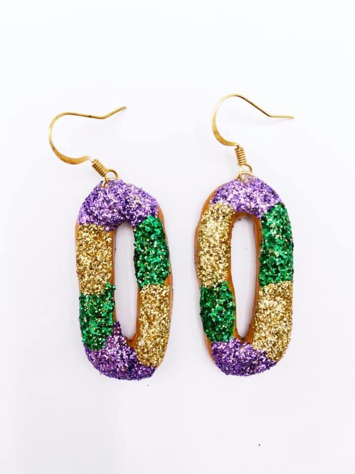 Oval King Cake Glitter Earrings