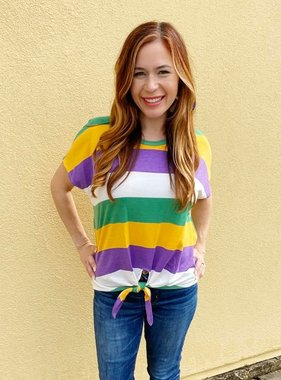 Mardi Gras Striped Knotted Tee