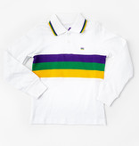Mardi Gras Striped Chest Long Sleeve Polo, Kids