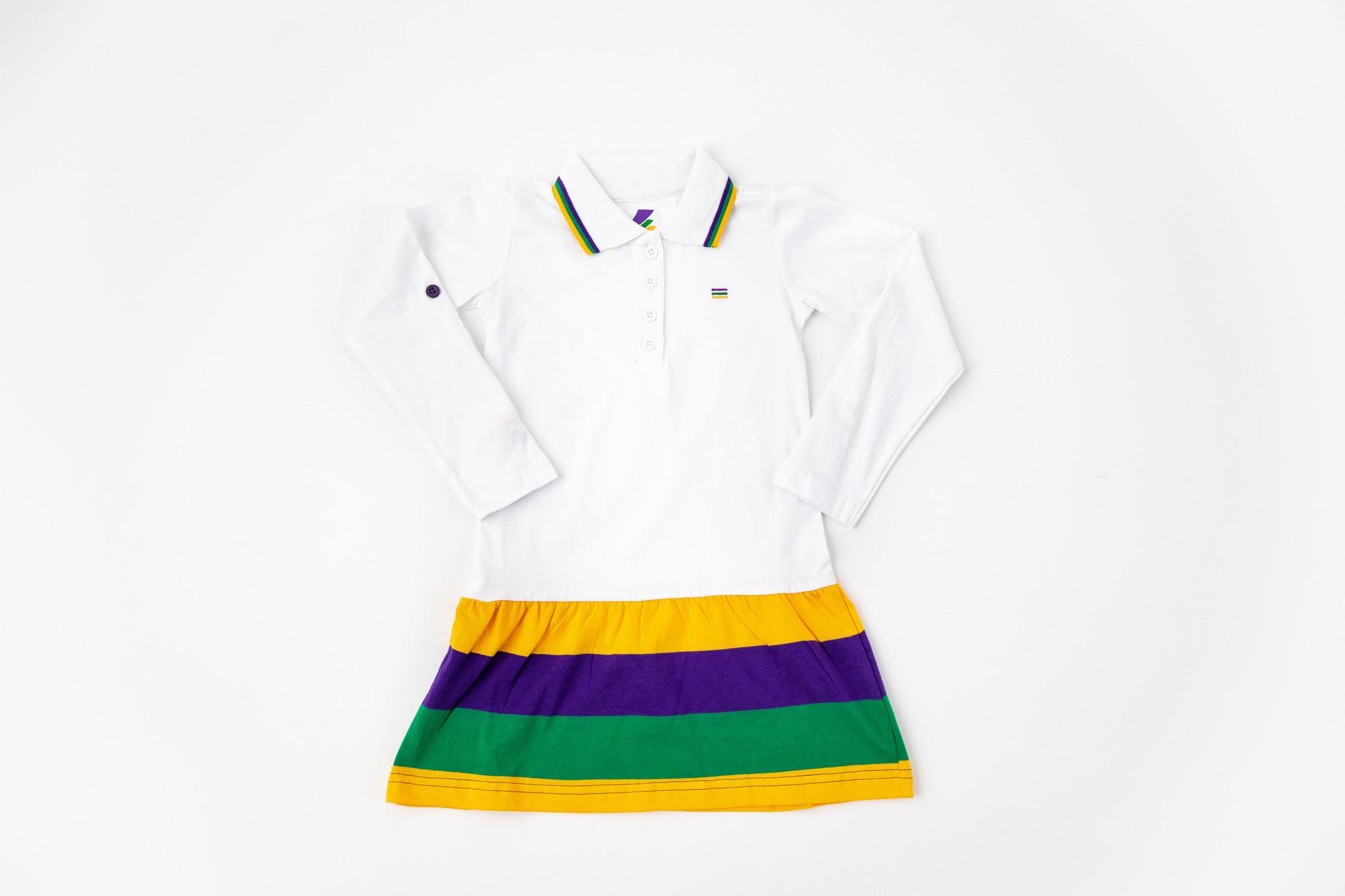 Mardi Gras Striped Long Sleeve Dress, Kids