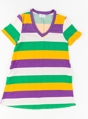 Mardi Gras Striped Swing Dress w/Pockets