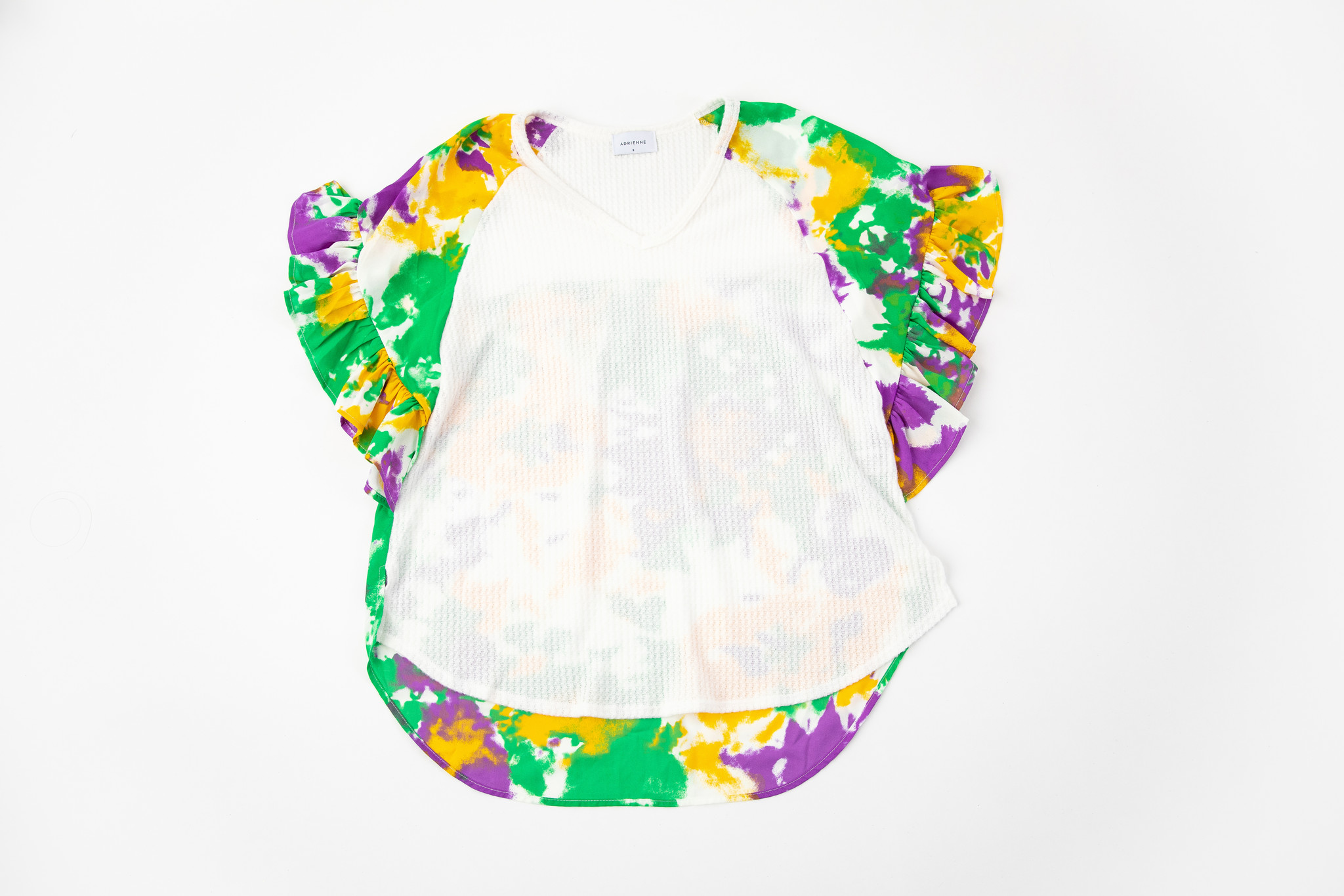 Mardi Gras Tie Dye Ruffle Sleeve Top