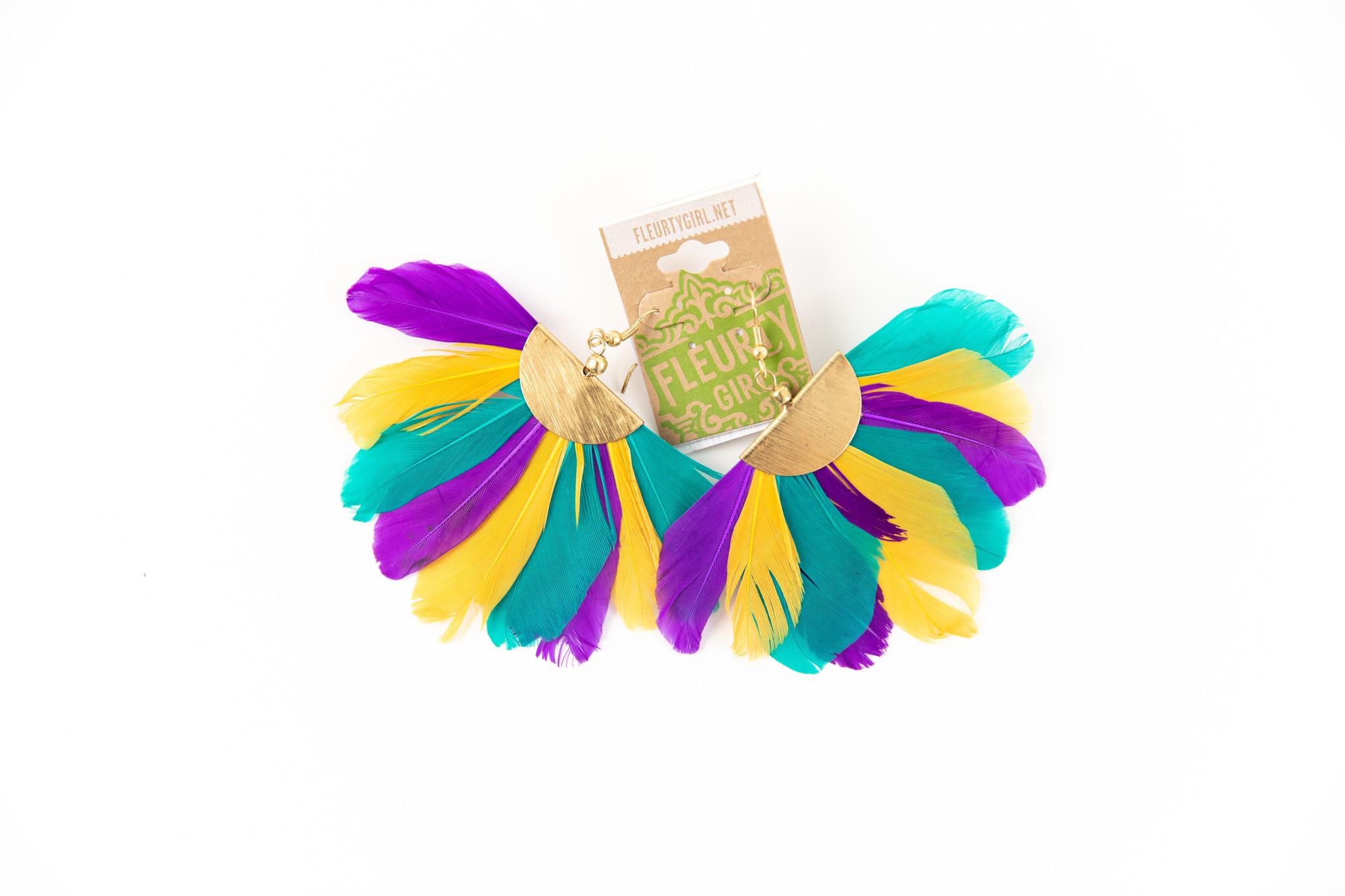 Mardi Gras Feather Fan Earrings